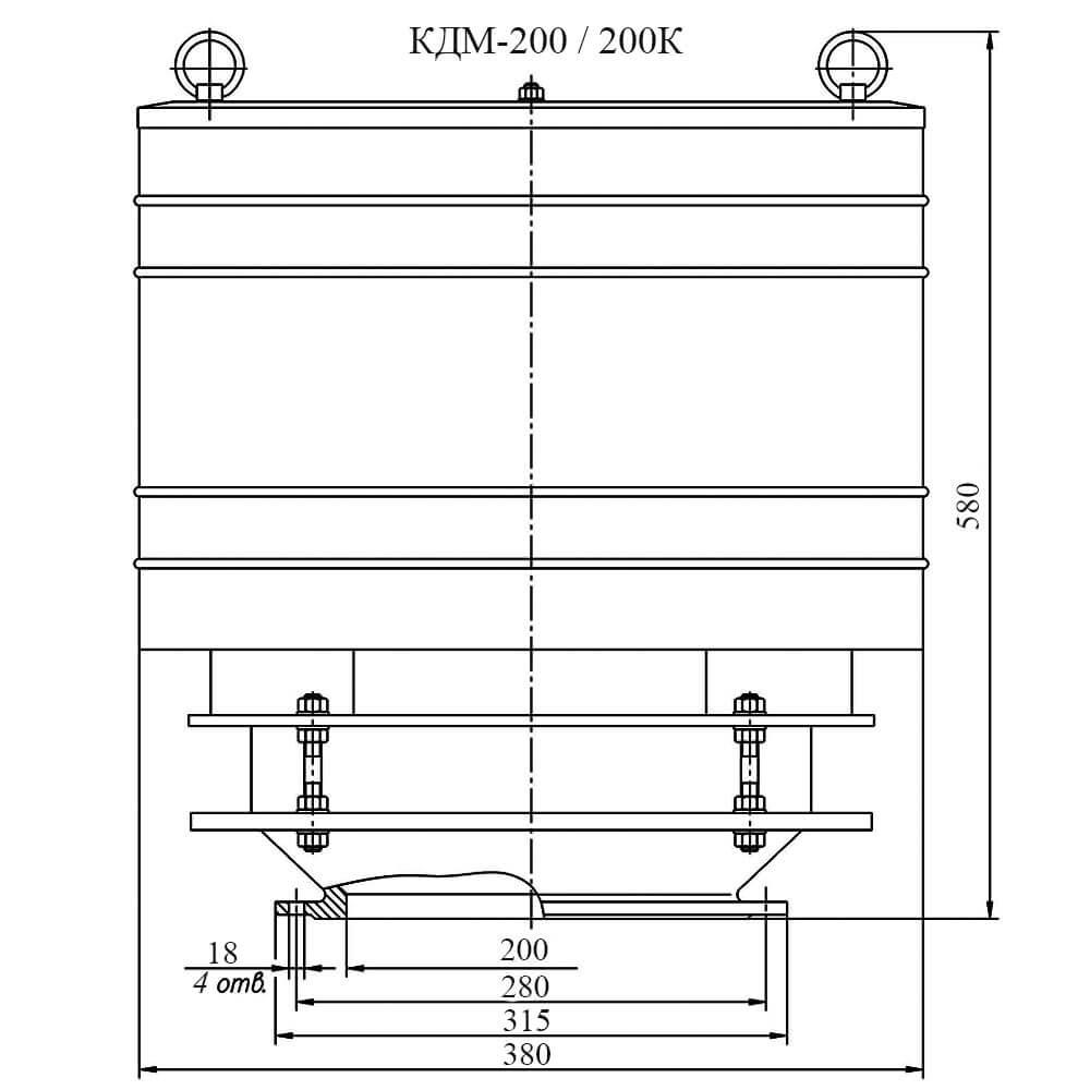 Клапан дыхательный механический КДМ-200 чертеж DN 200