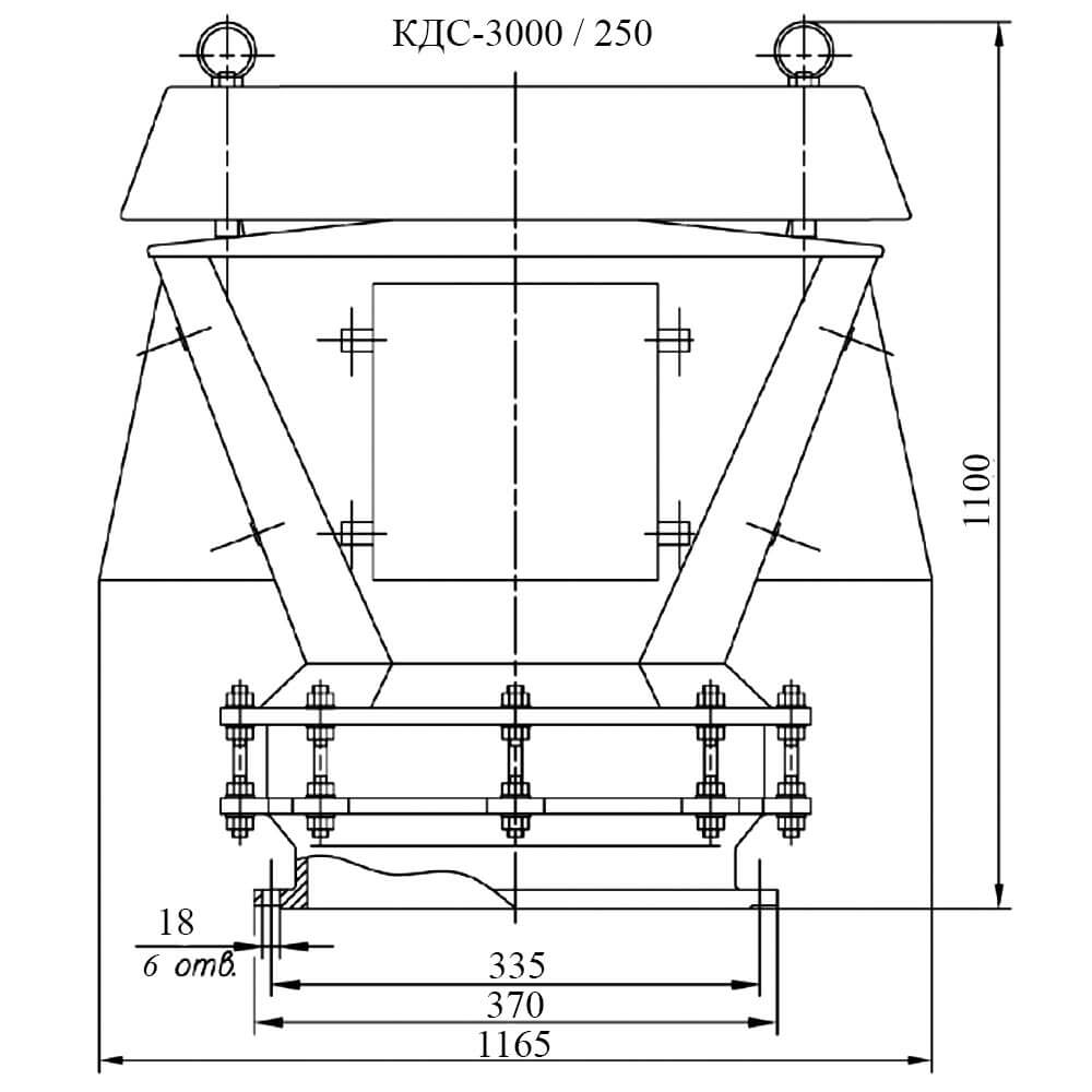 Клапан дыхательный совмещенный КДС-3000 чертеж DN 250
