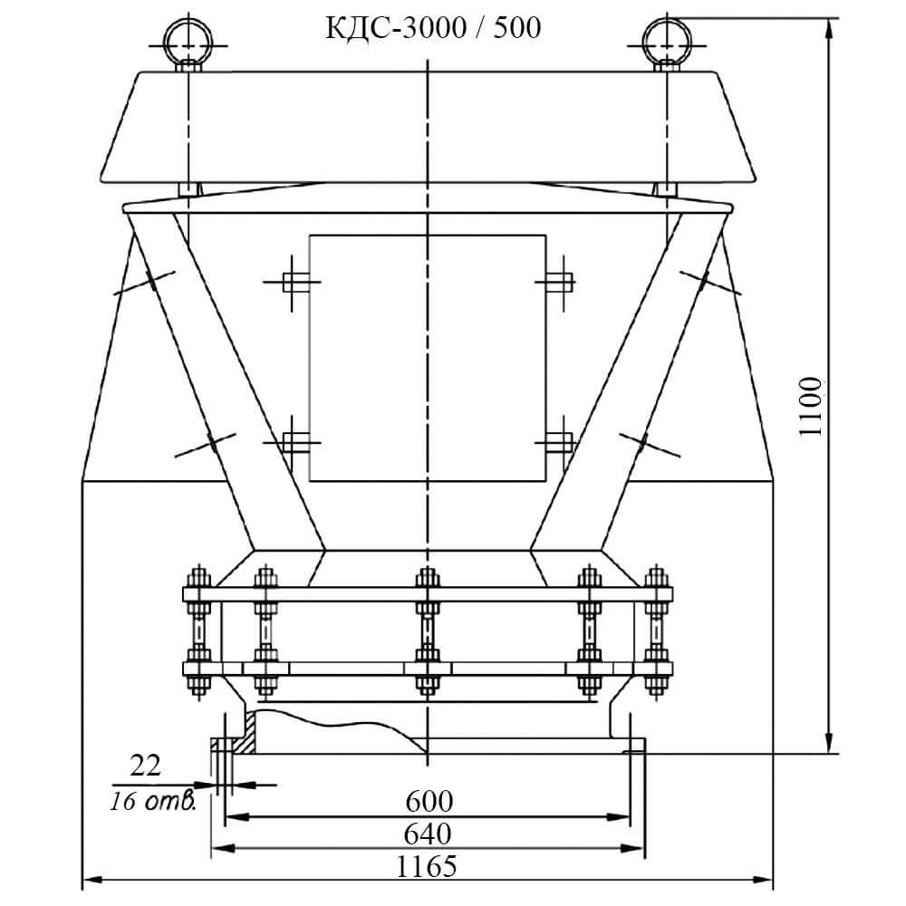 Клапан дыхательный совмещенный КДС-3000 чертеж DN 500
