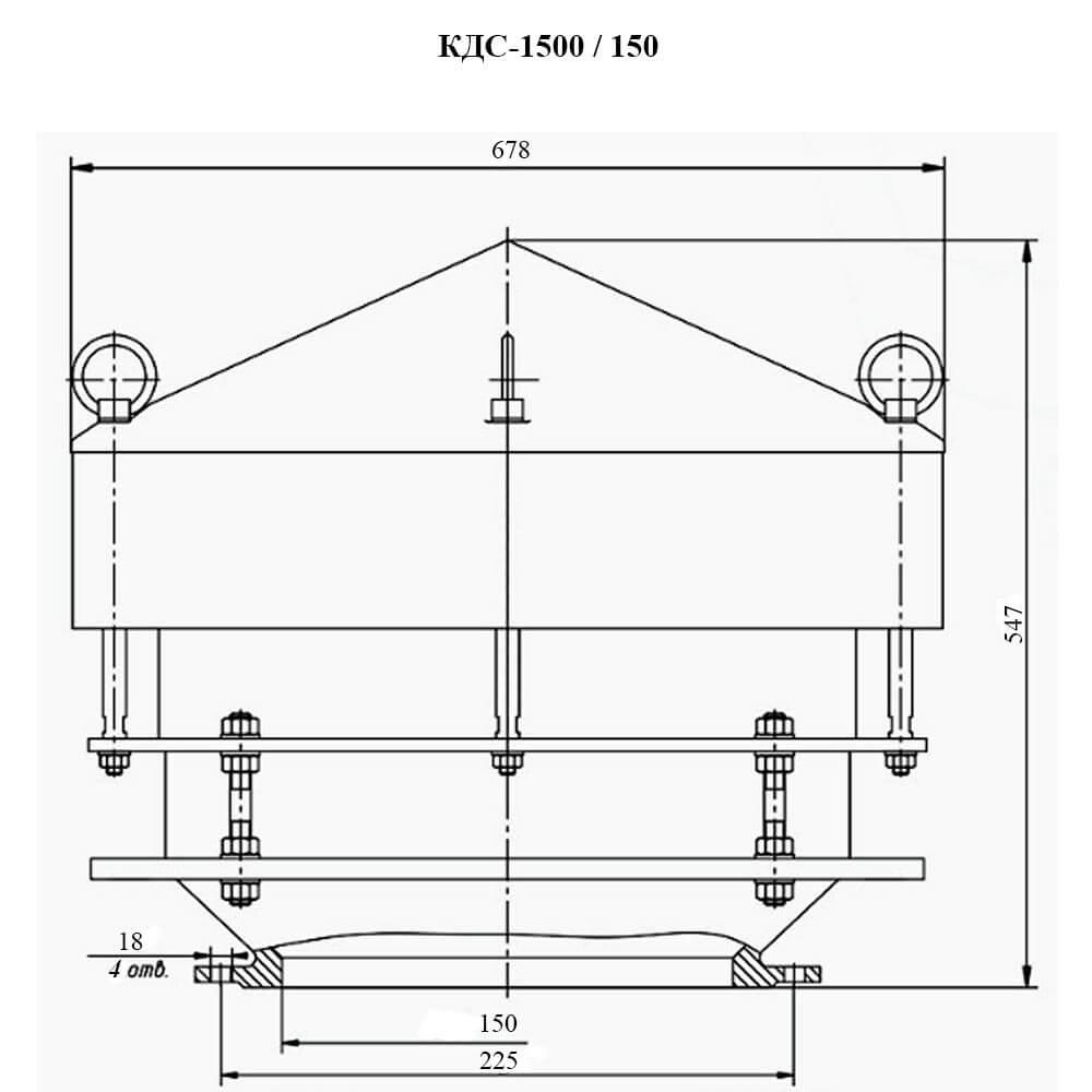 Клапан дыхательный совмещенный КДС-1500М чертеж DN 150