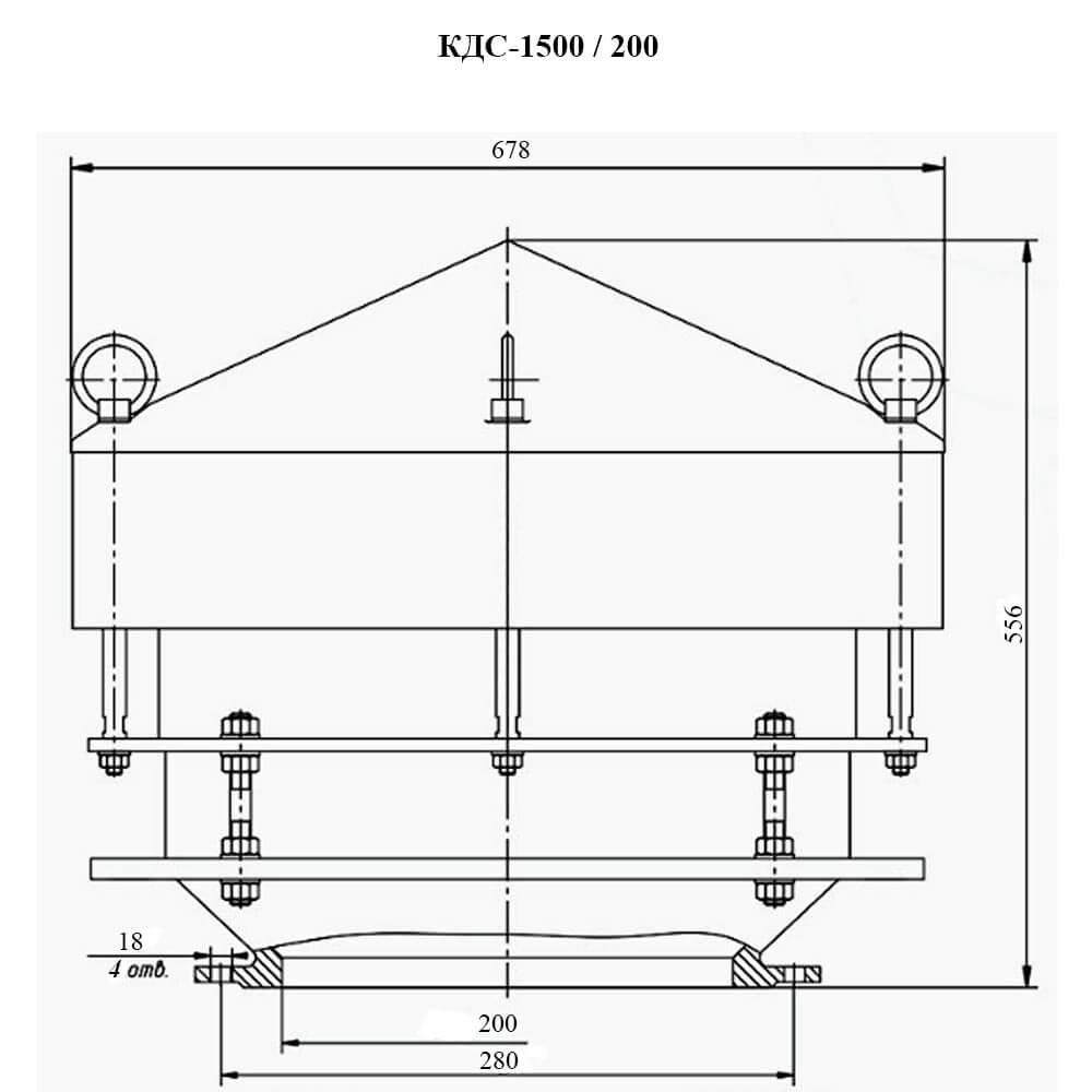 Клапан дыхательный совмещенный КДС-1500М чертеж DN 200