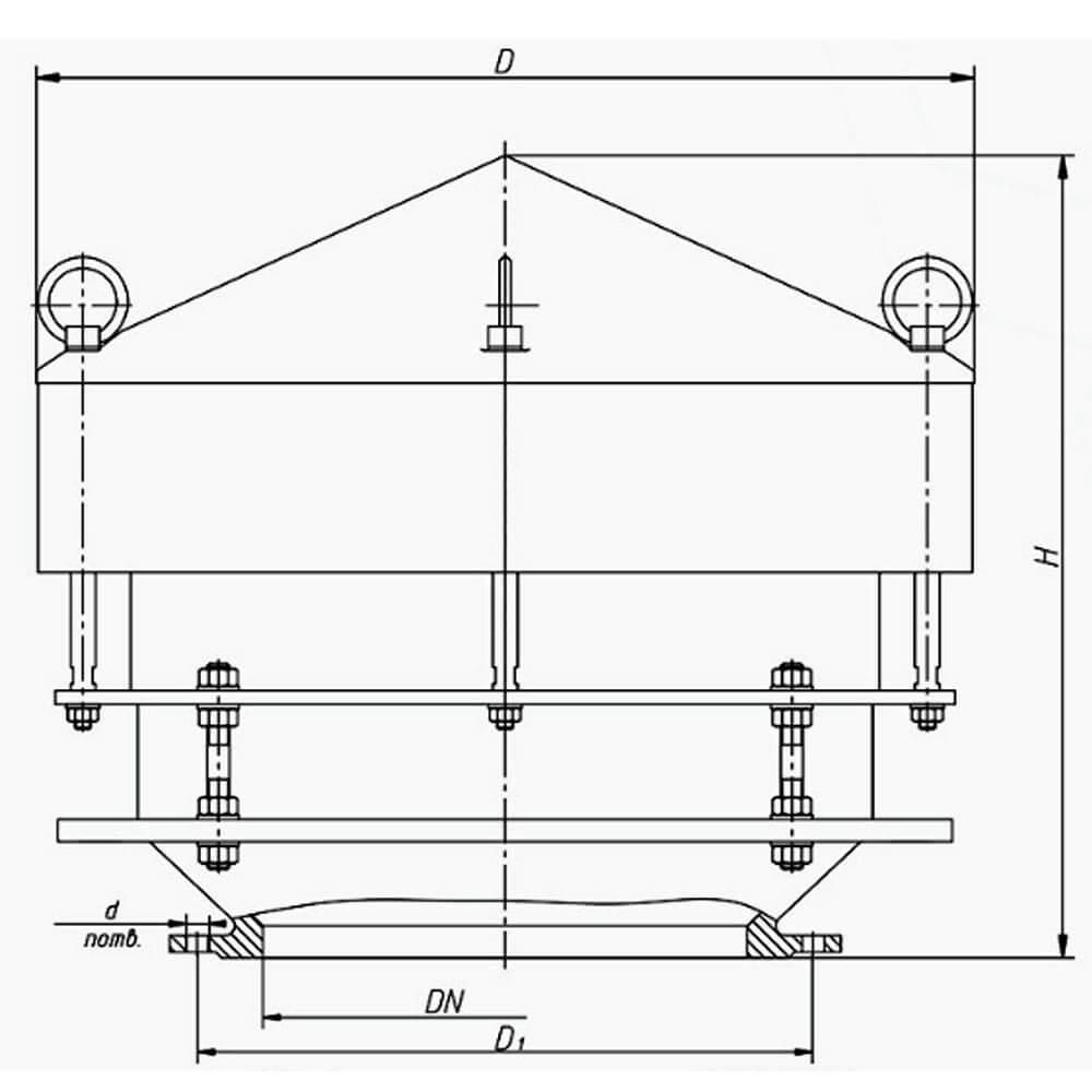 Клапан дыхательный совмещенный КДС-1500М чертеж