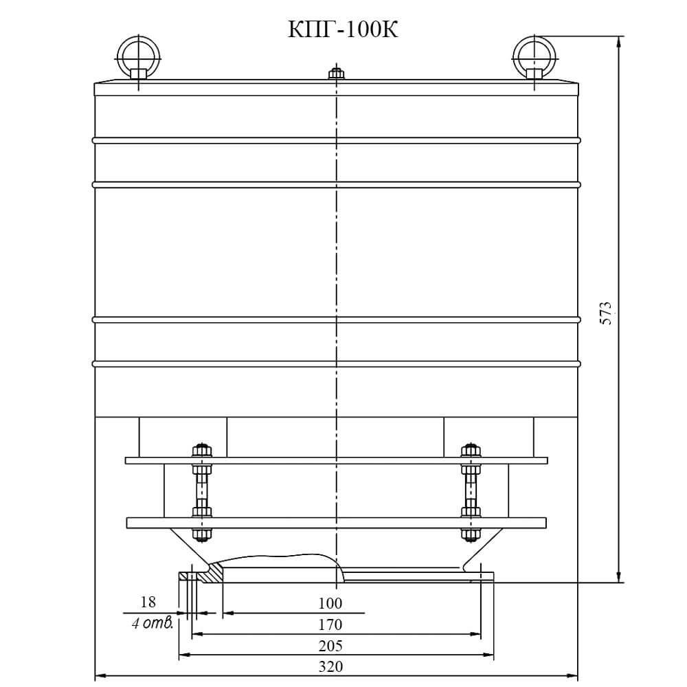 Клапан предохранительный гидравлический КПГ-К чертеж DN 100