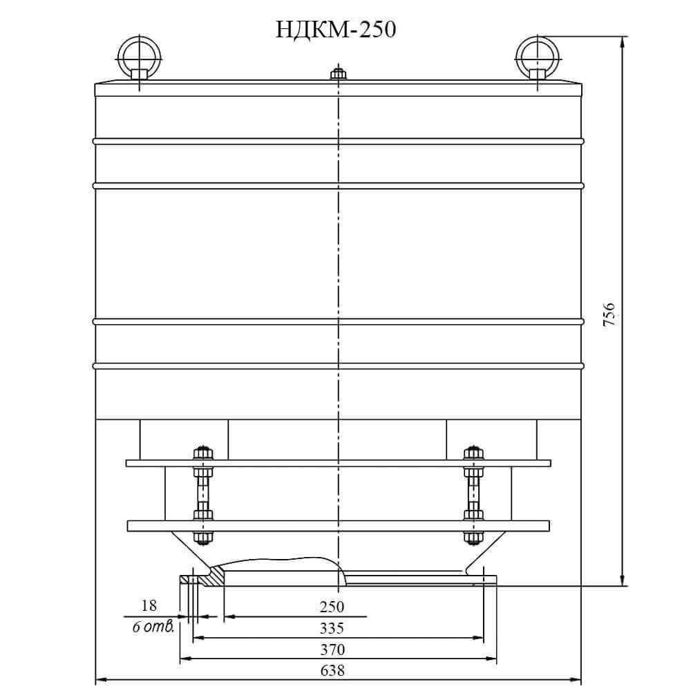 Дыхательный клапан механический НДКМ - чертеж DN 250