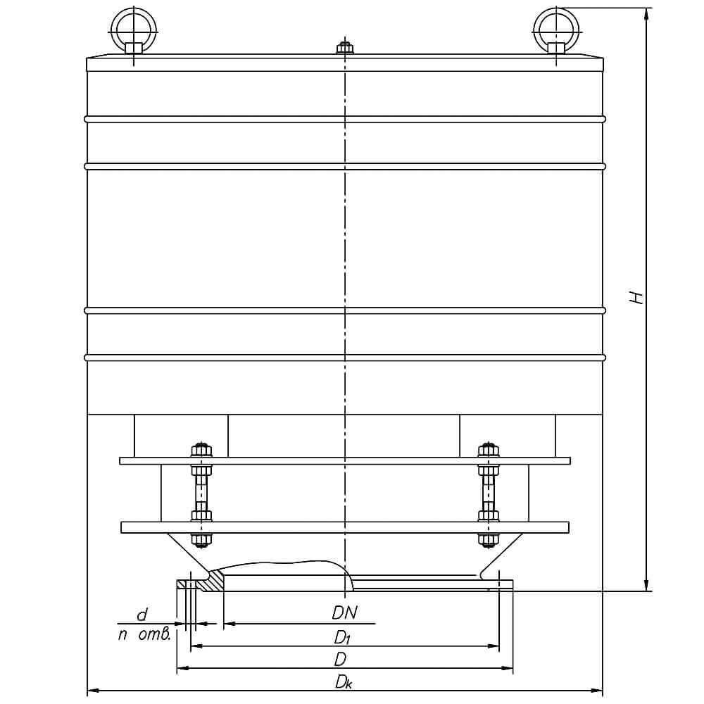 Дыхательный клапан механический НДКМ - чертеж