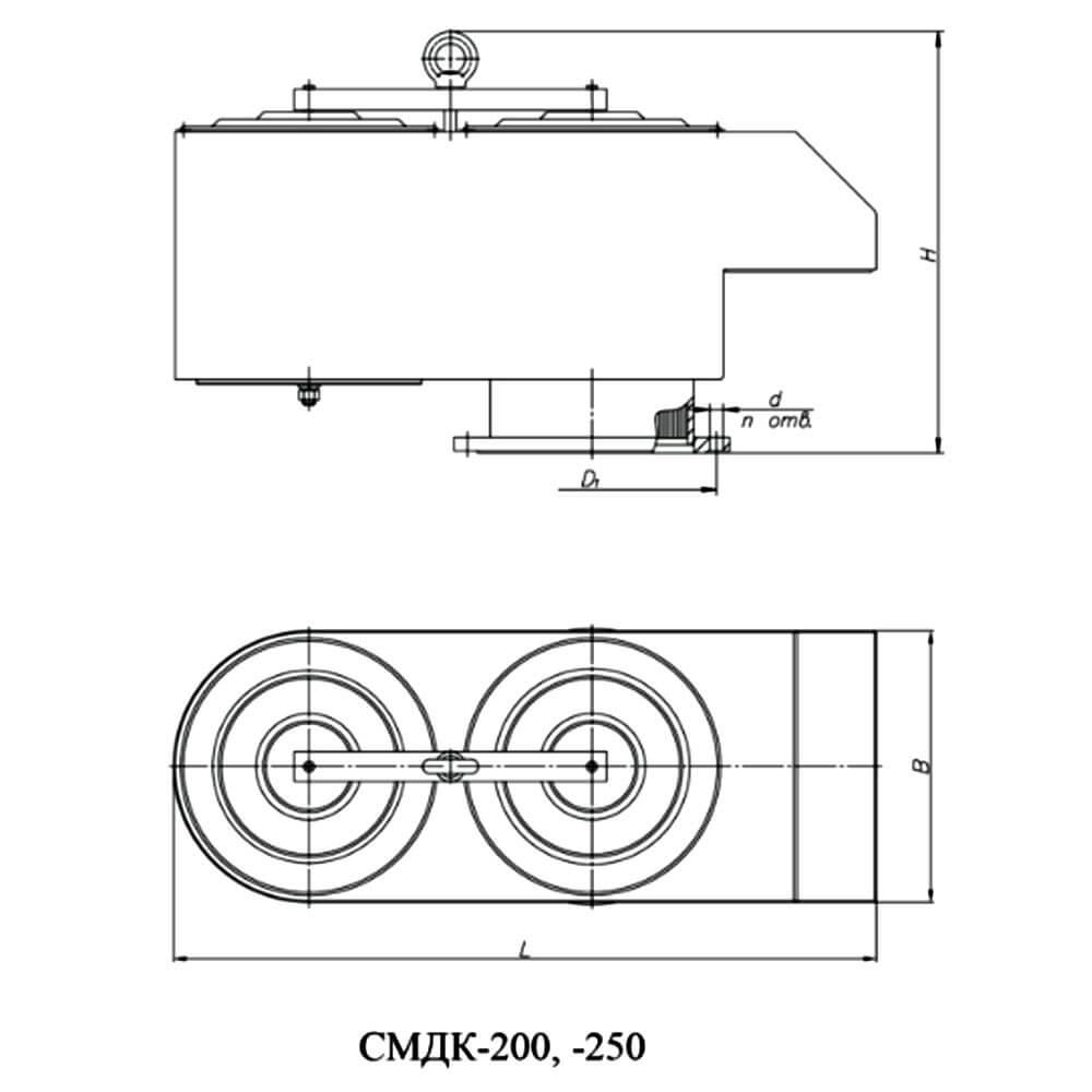 Совмещенный механический дыхательный клапан СМДК чертеж DN 200, 250