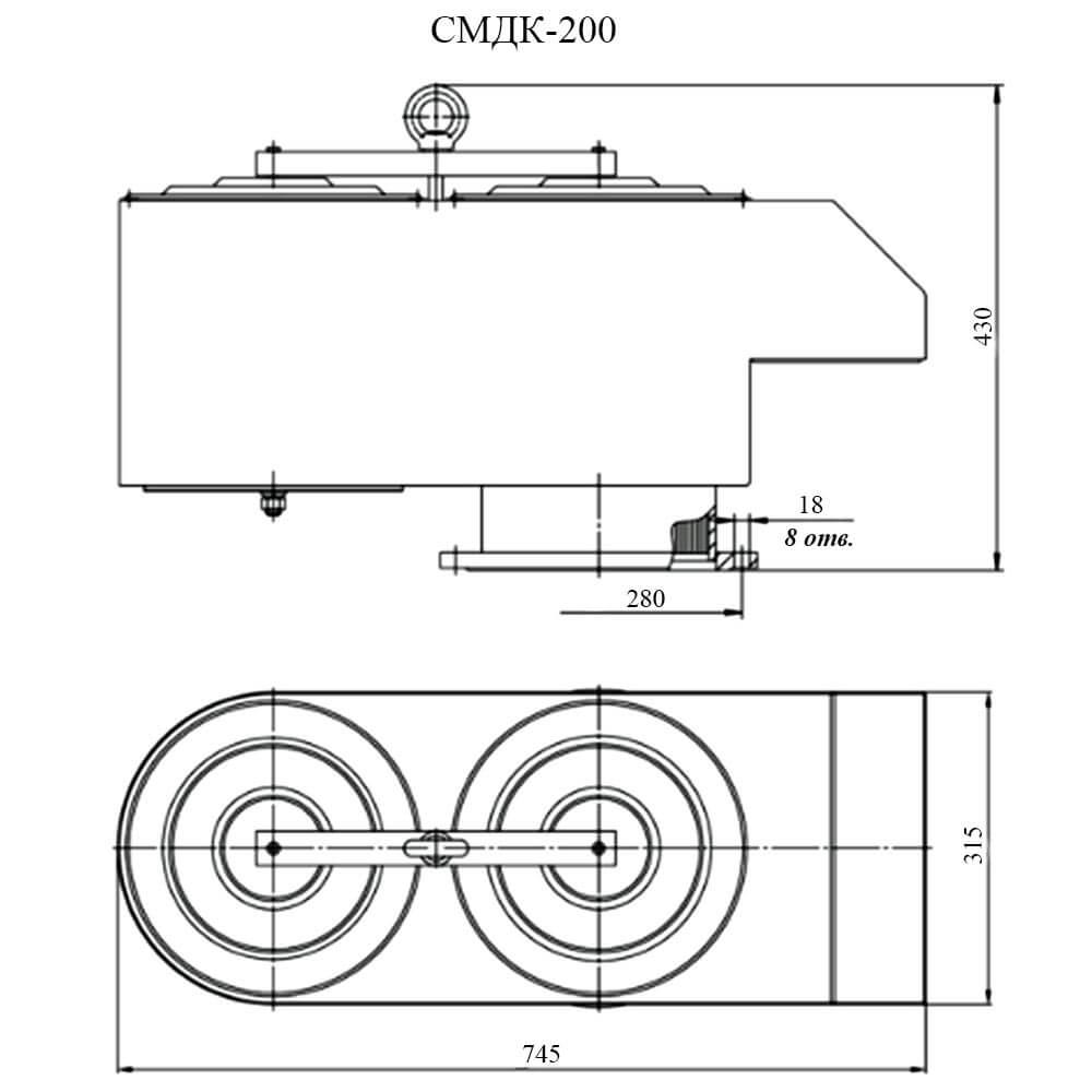 Совмещенный механический дыхательный клапан СМДК чертеж DN 200