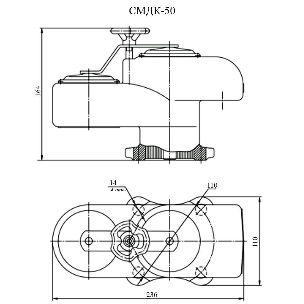 Совмещенный механический дыхательный клапан СМДК чертеж DN 50