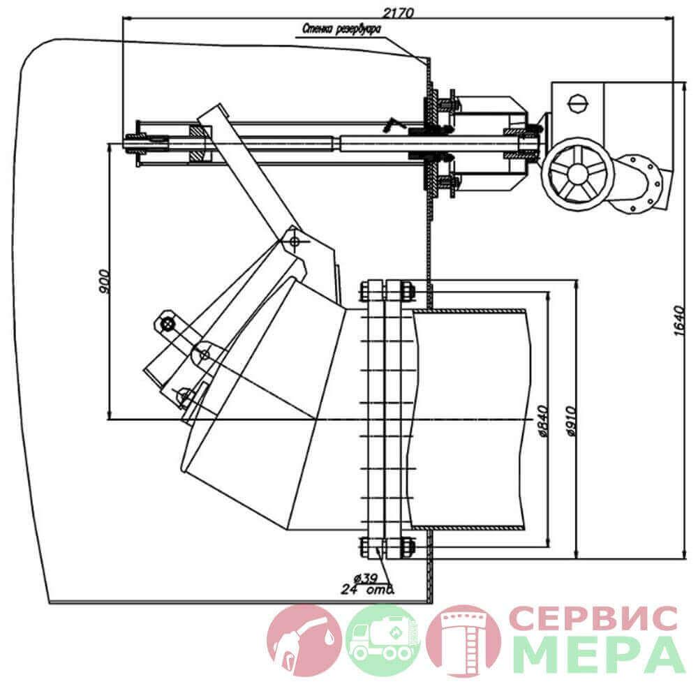Электроприводная хлопушка ЭХ-700 - чертеж