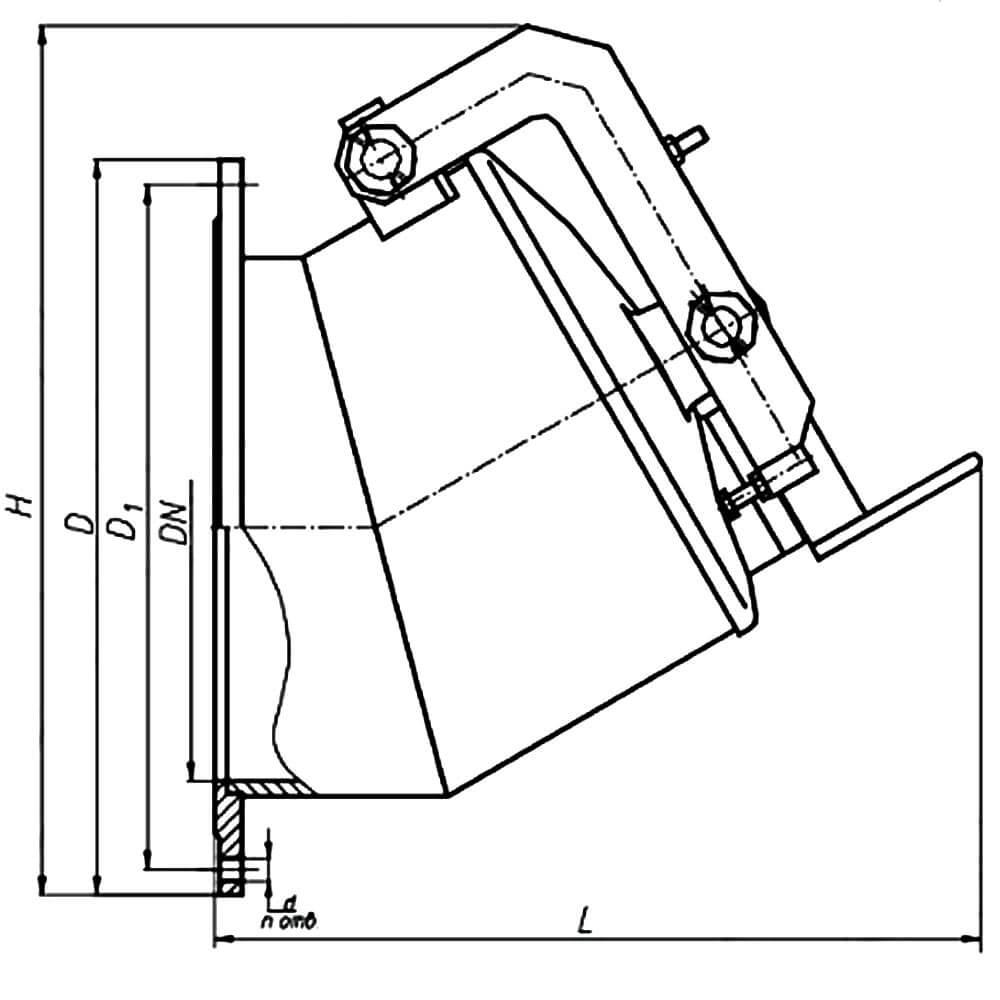 Хлопушка ХП (ДУ 80 - 600) чертеж