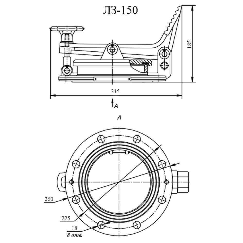 Люк замерный ЛЗ - чертеж ДУ-150