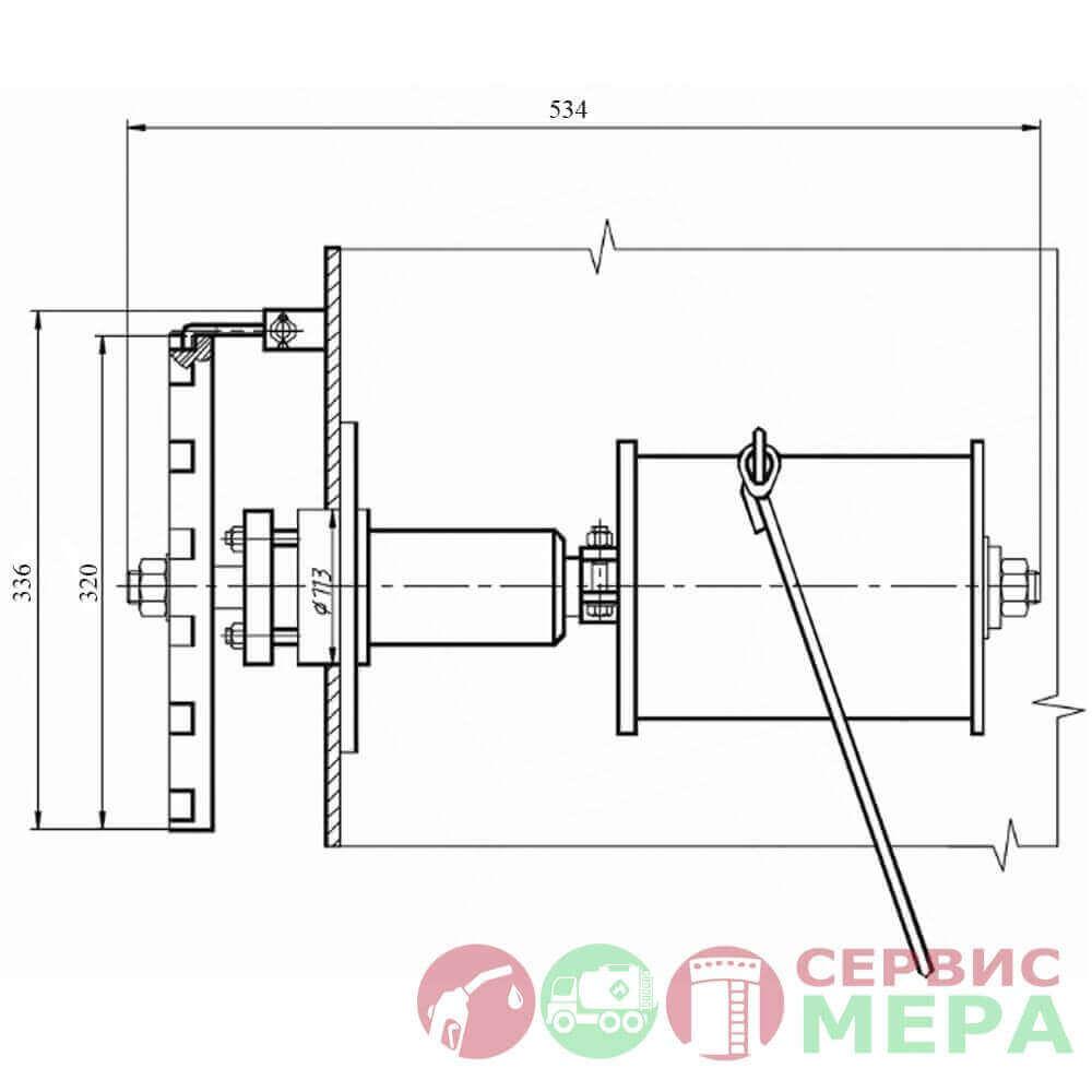 Механизм управления хлопушкой резервуара МУ-1 (боковой) - чертеж