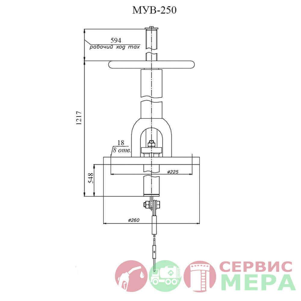 Механизм управления хлопушкой верхний МУВ-250 - чертеж