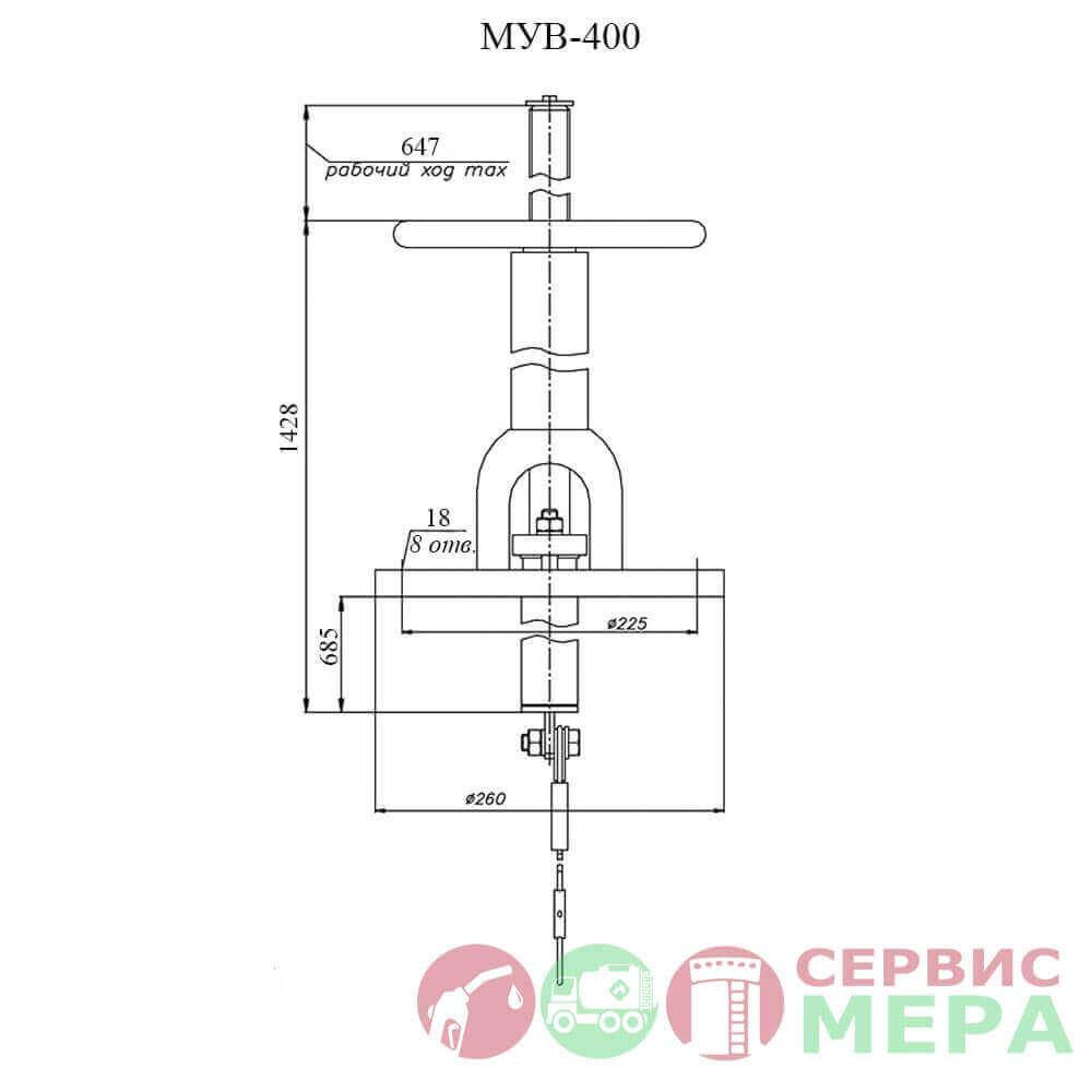 Механизм управления хлопушкой верхний МУВ-400 - чертеж