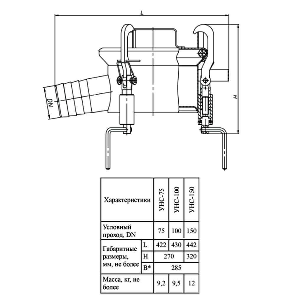 Устройство нижнего слива УНС (УНС-75 – УНС-150) - чертеж