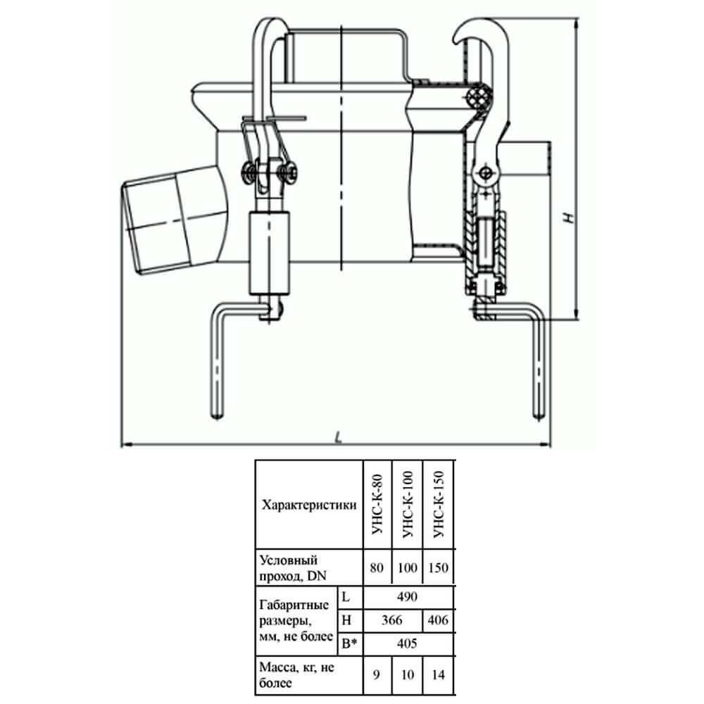 Устройство нижнего слива УНС-К (УНС-К-75 – УНС-К-150) - чертеж