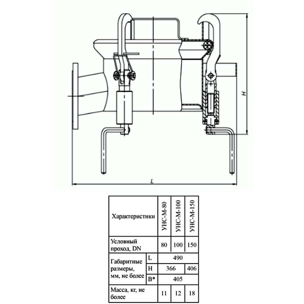 Устройство нижнего слива УНС-М (УНС-М-75 – УНС-М-150) - чертеж