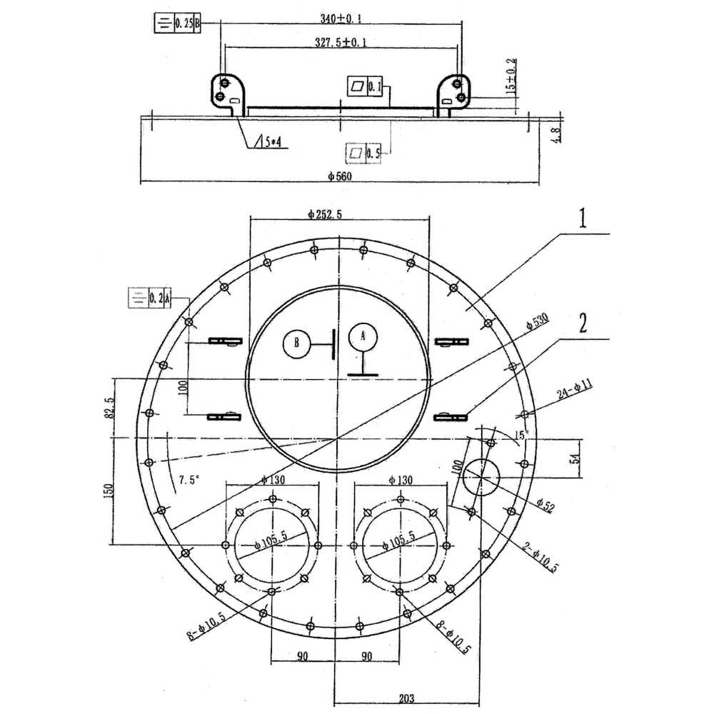 Крышка люка бензовоза Manlid-20 - чертеж