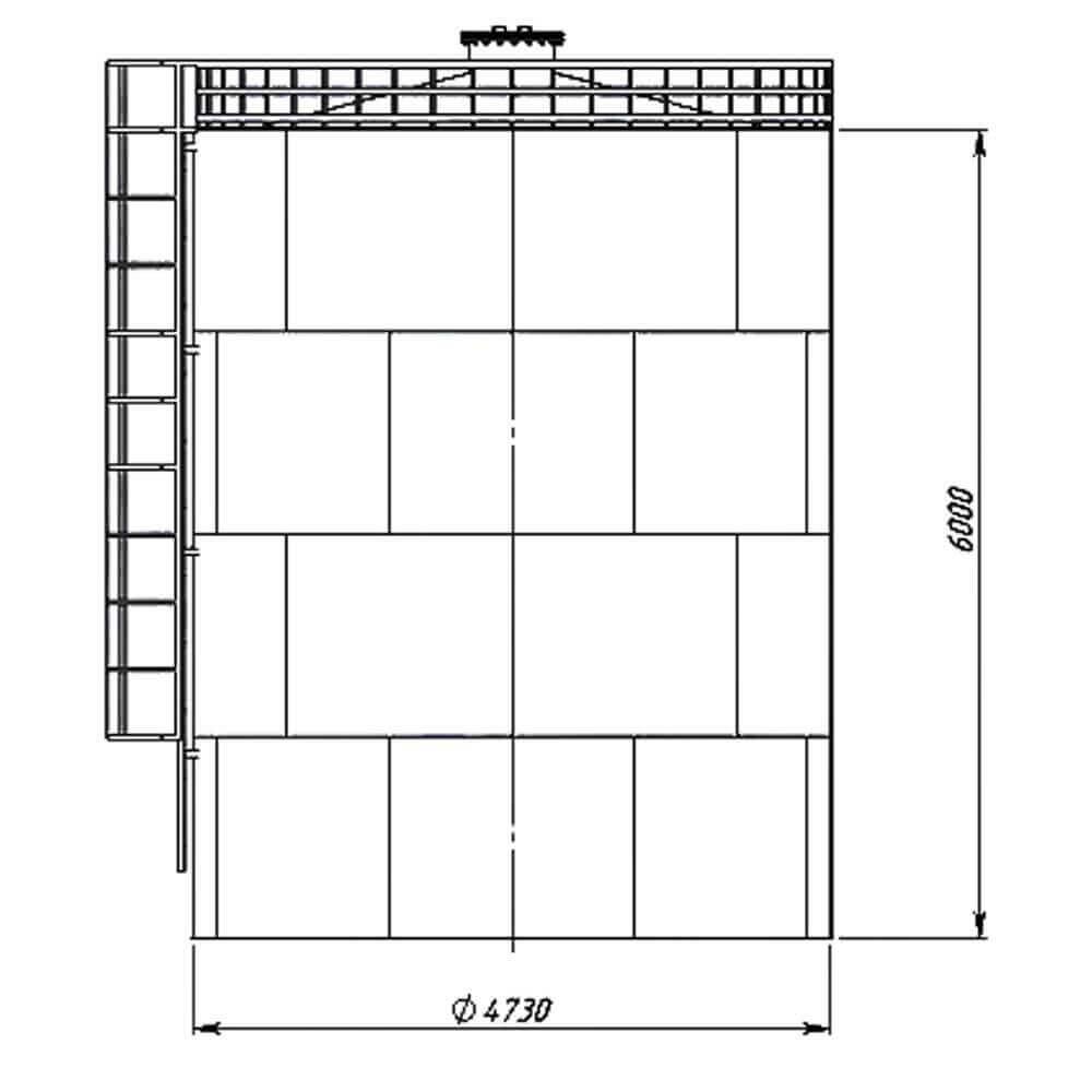 Резервуар вертикальный стальной РВС-100 - чертеж