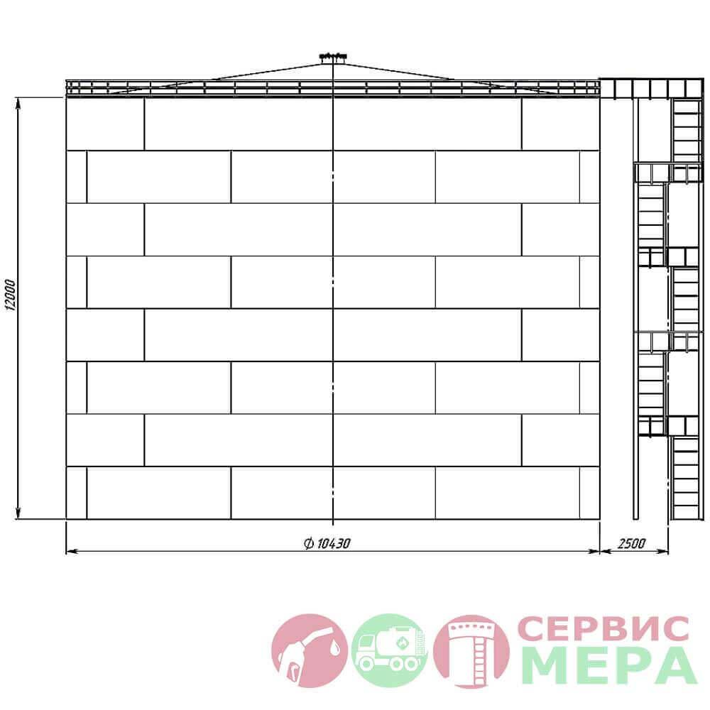 Резервуар вертикальный стальной РВС-1000 - габариты