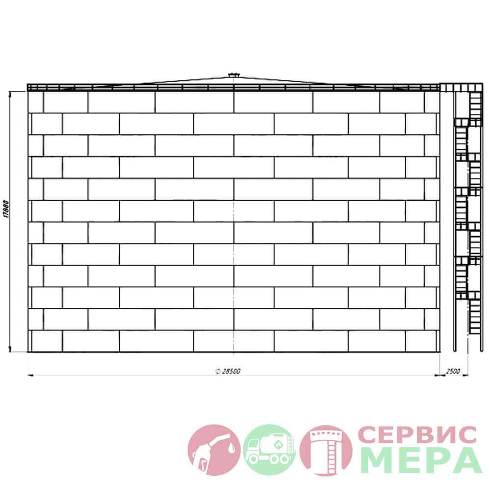 Вертикальный резервуар РВС-10000 - габариты