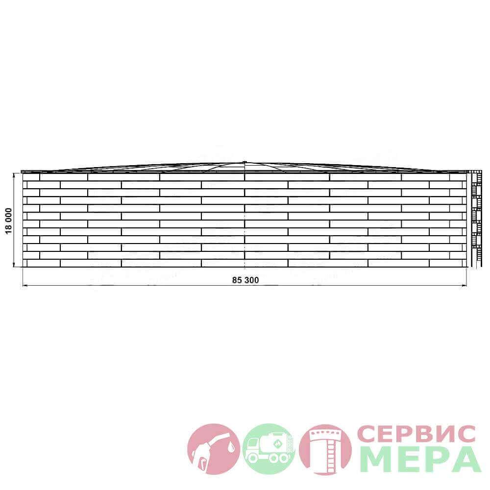 Вертикальный резервуар РВС-100000 - габариты