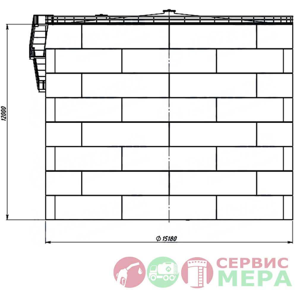 Вертикальный резервуар РВС-2000 - габариты