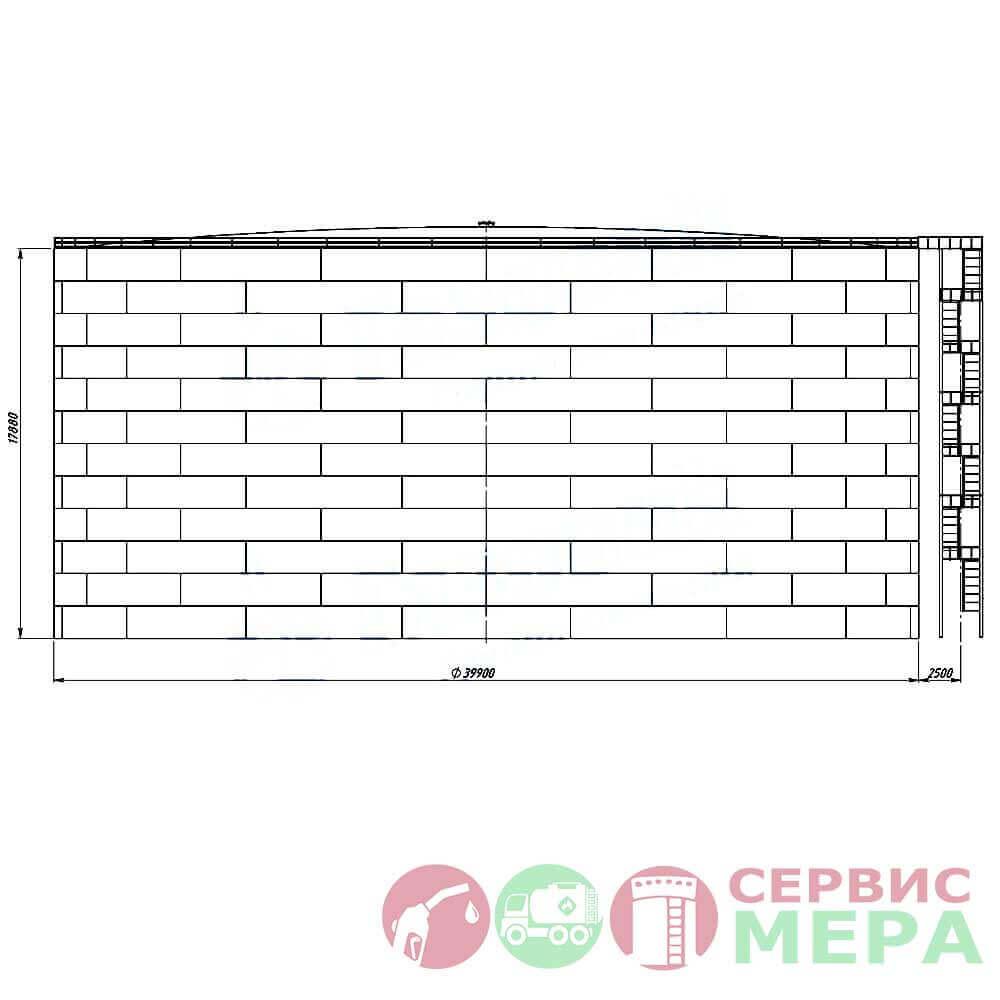 Вертикальный резервуар РВС-20000 - габариты