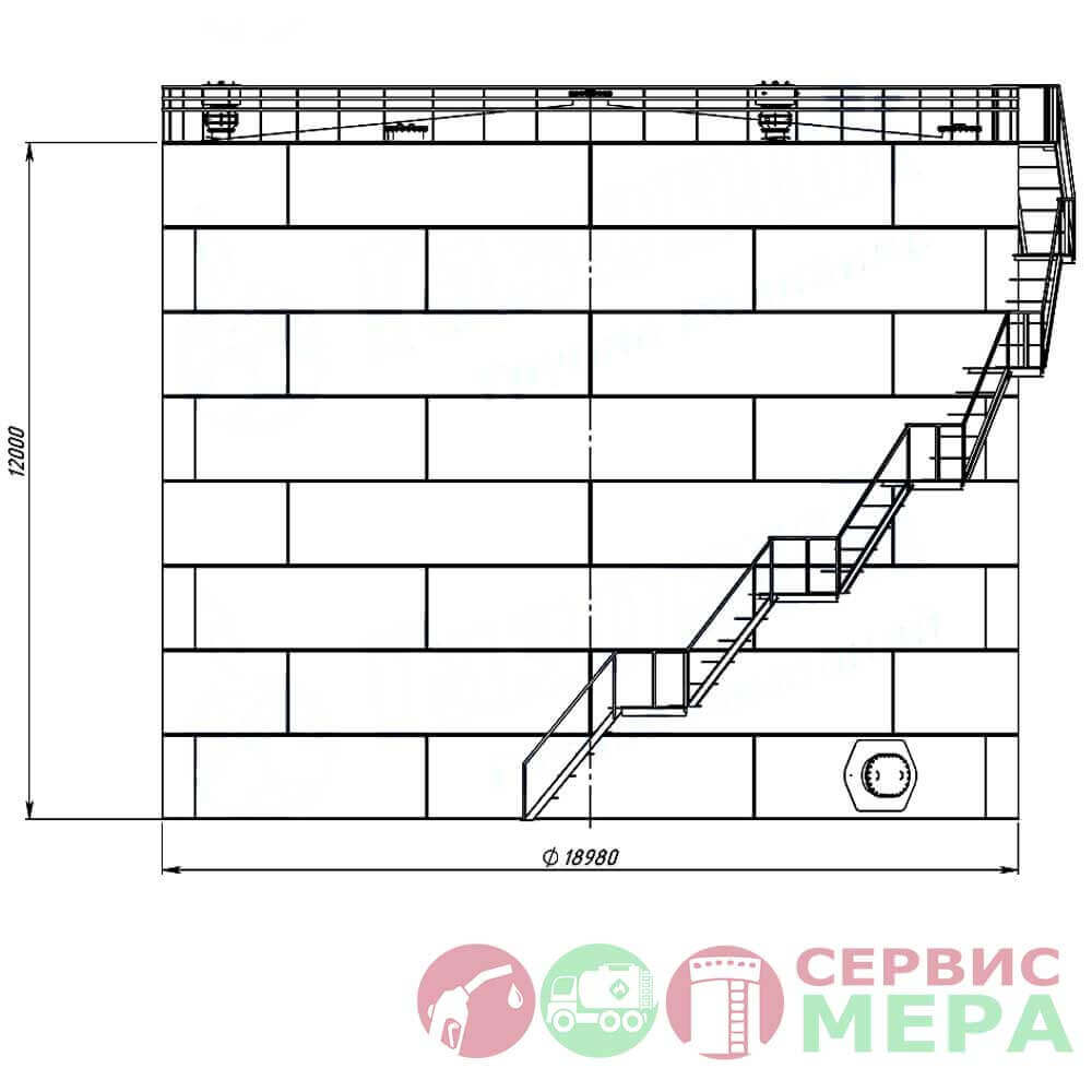 Вертикальный резервуар РВС-3000 - габариты