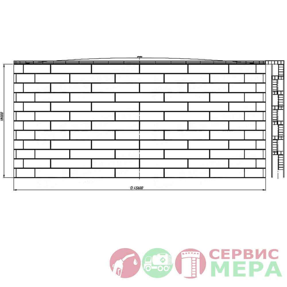 Вертикальный резервуар РВС-30000 - габариты