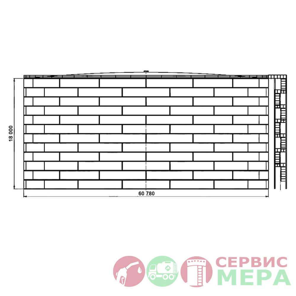 Вертикальный резервуар РВС-50000 - габариты