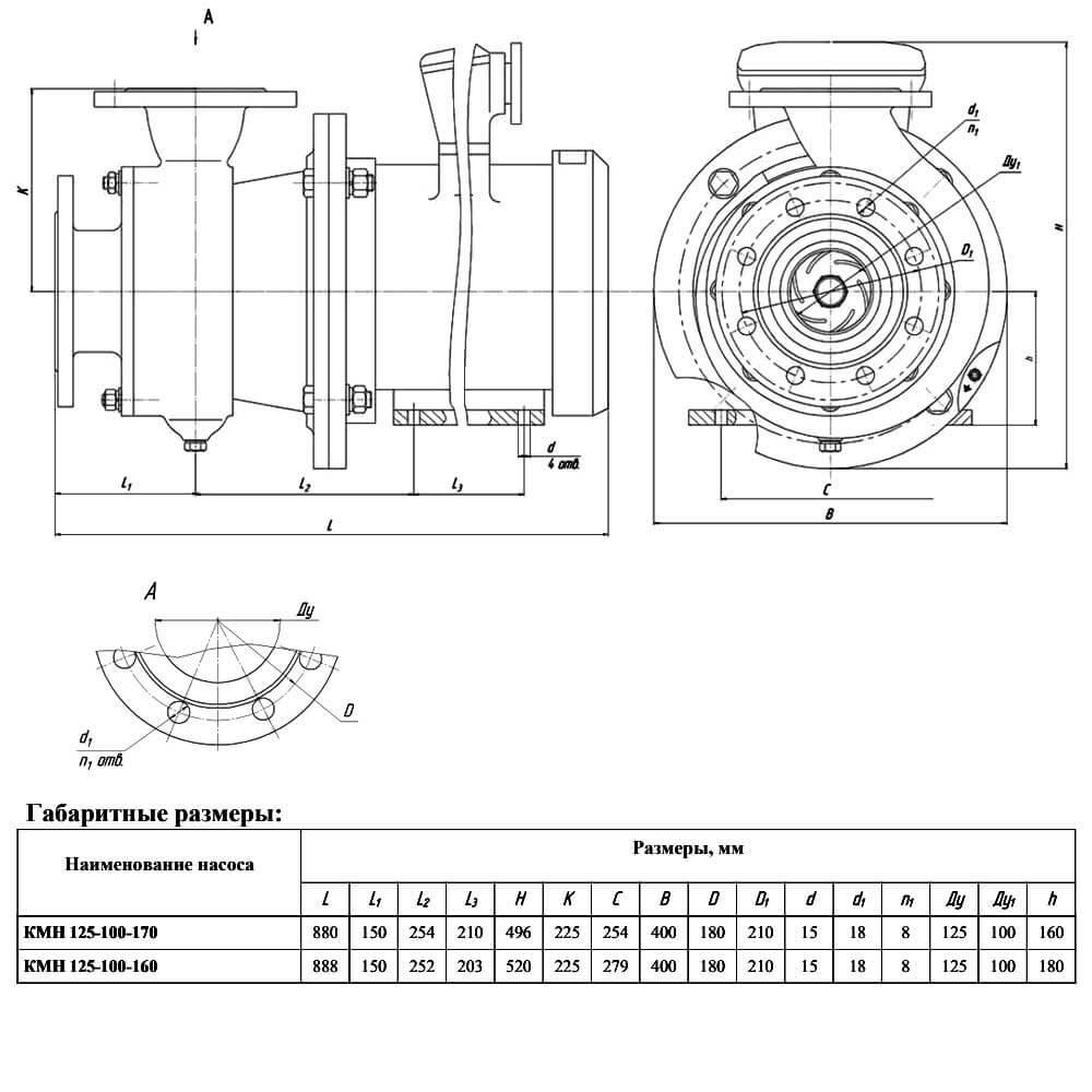 Консольный моноблочный насос КМН-125-100-170 (КМН-125-100-160) - чертеж