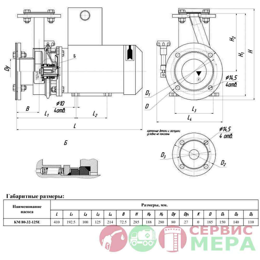 Насос КМН-80-32-125 E - чертеж