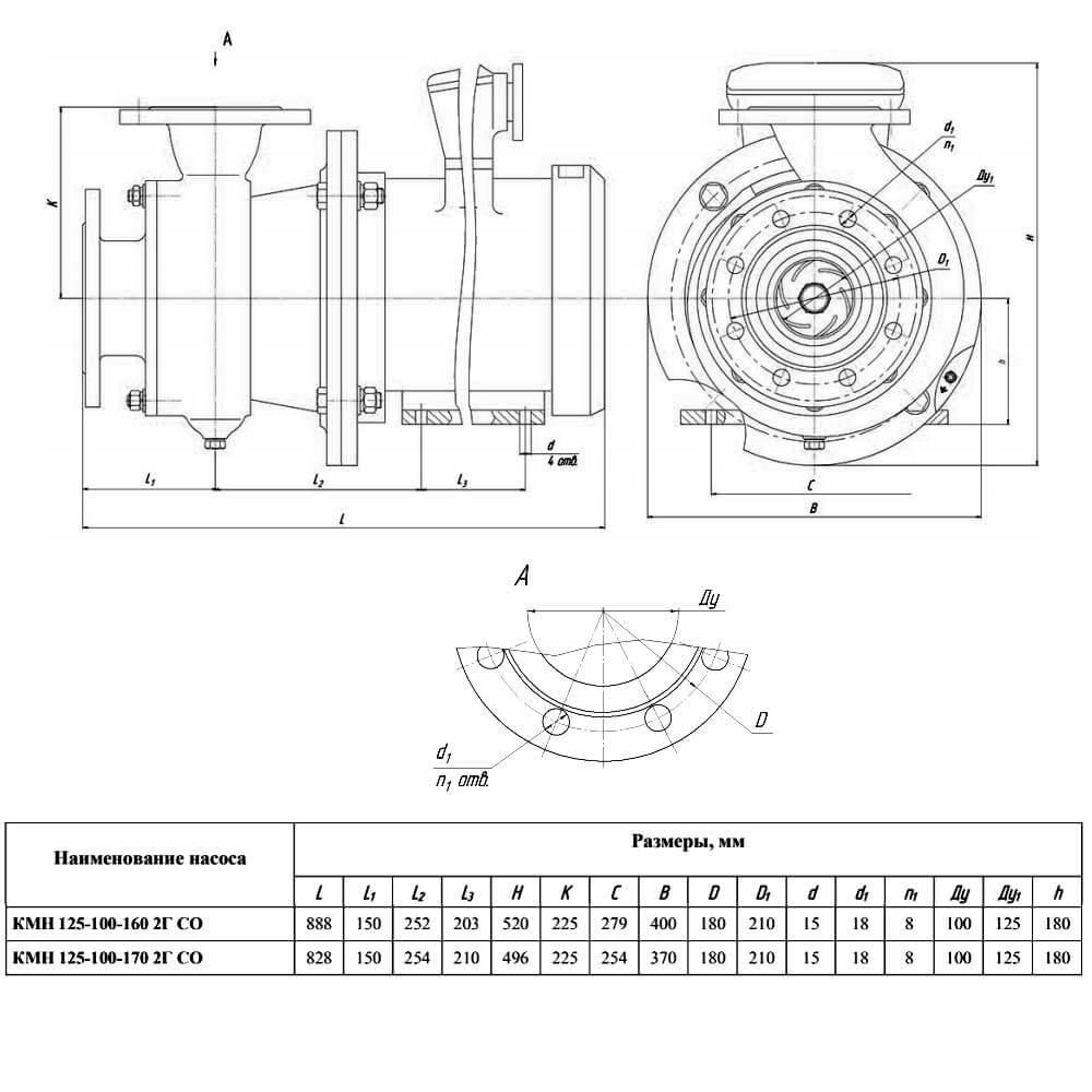 Насос КМН 125-100-160 2Г СО (КМН 125-100-170 2Г СО) - чертеж