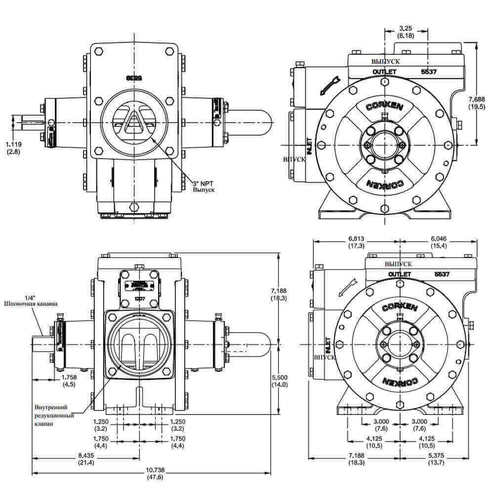 Насос СУГ Corken Z3500 - чертеж
