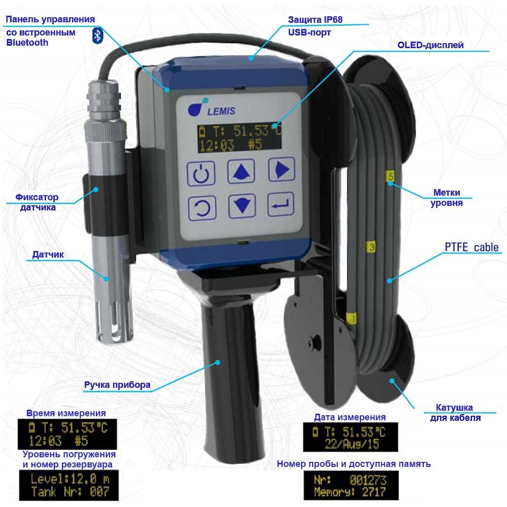 Погружной электронный термометр PET-230.1 - основные узлы