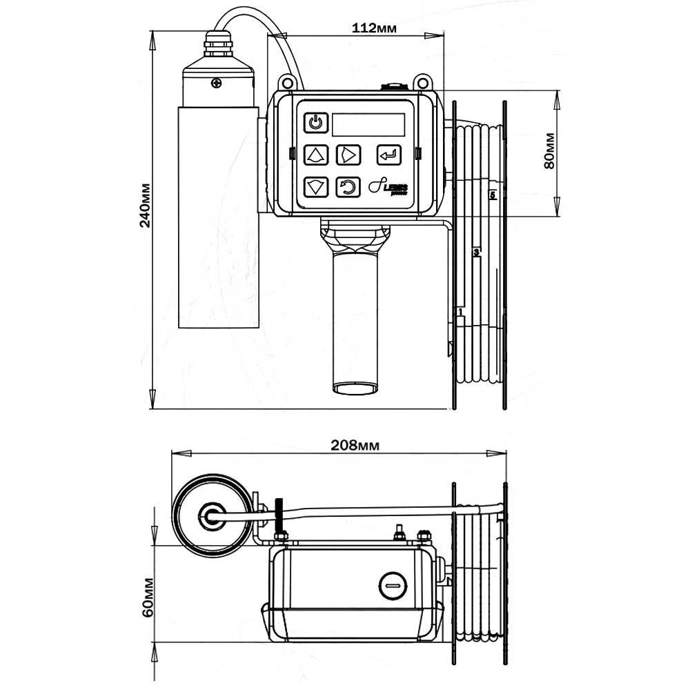 Портативный погружной плотномер DM-230.1A - габариты