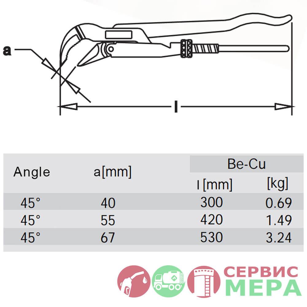 Ключ трубный искробезопасный - чертеж и характеристики