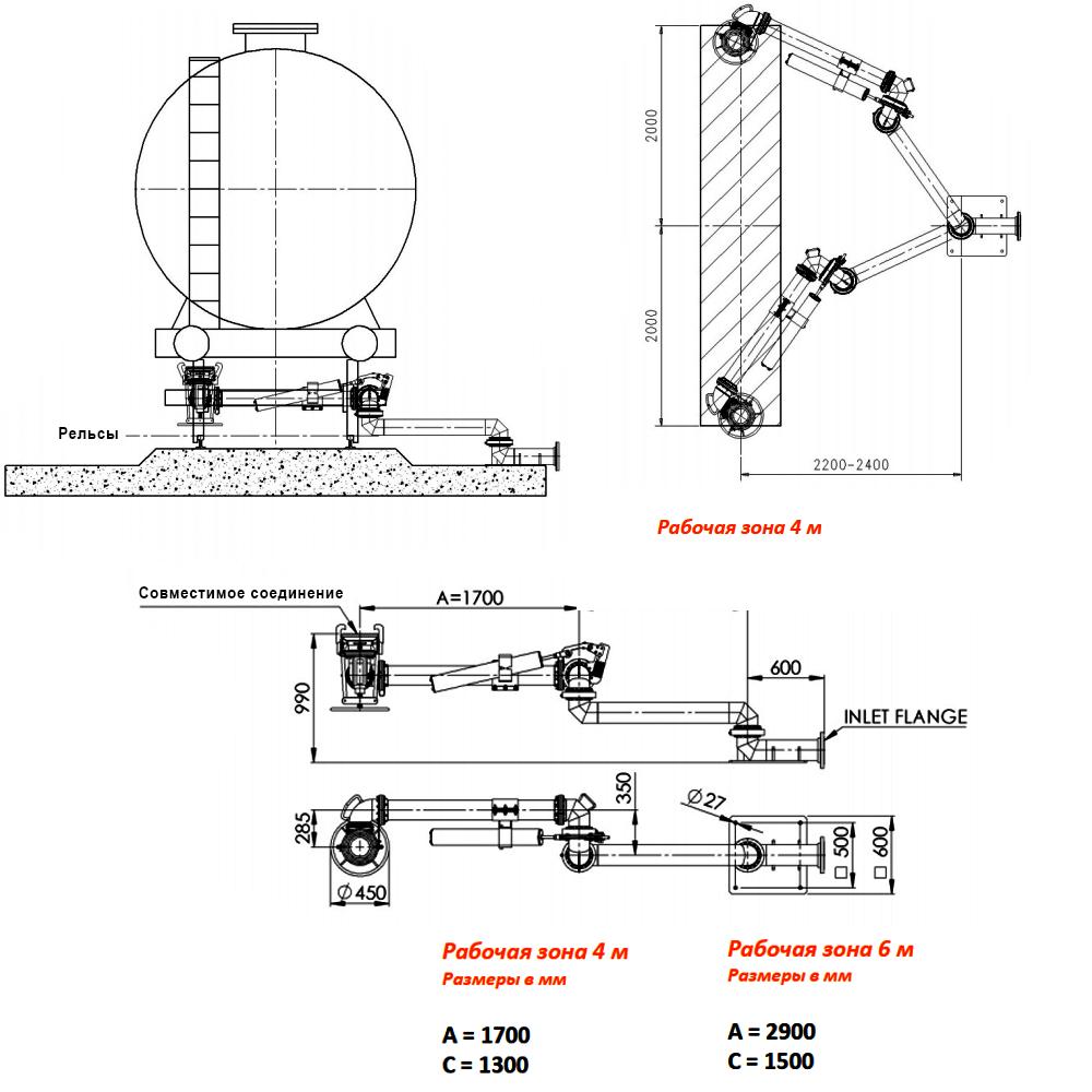 Устройство нижнего слива жд цистерн Selea 1701 - чертеж