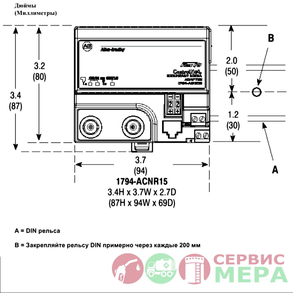 Монтажные размеры флекс-системы ввода/вывода Allen-Bradley 1794-ACNR15